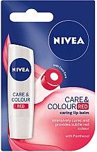Парфюми, Парфюмерия, козметика Балсам за устни - Nivea Lip Care Colour Red