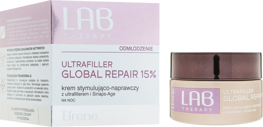 Нощен подмладяващ и възстановяващ крем за лице - Lirene Lab Therapy Ultrafiller Global Repair 15% — снимка N1