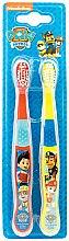Парфюмерия и Козметика Комплект меки детски четки за зъби, червена+жълта - Nickelodeon Paw Patrol (toothbrush/2szt)