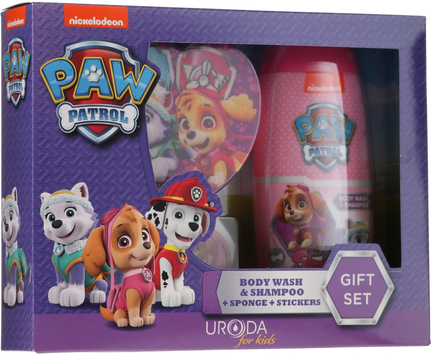 Детски комплект - Uroda Paw Patrol Girl (шамп./душ гел/250ml + гъба + стикери)