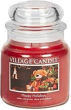 Парфюми, Парфюмерия, козметика Ароматна свещ в бурканче - Village Candle Happy Holidays Glass Jar