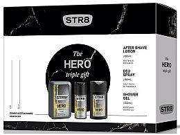 Парфюми, Парфюмерия, козметика STR8 Hero - Комплект (афтър. лосион/100ml + душ гел/250ml + део/150ml)