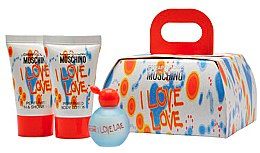 Парфюми, Парфюмерия, козметика Moschino I Love Love - Комплект (edt/4.9ml + b/lot/25ml + sh/gel/25ml)