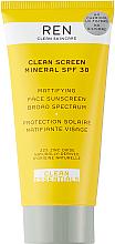 Парфюмерия и Козметика Матиращ слънцезащитен крем за лице - Ren Clean Screen Mattifying Face Sunscreen SPF 30