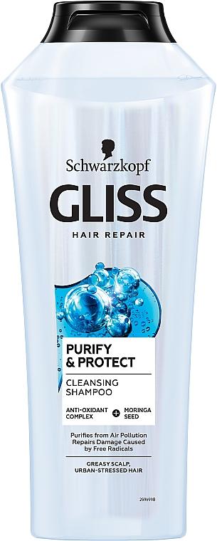 Почистващ шампоан за мазна коса - Schwarzkopf Gliss Kur Purify & Protect Shampoo