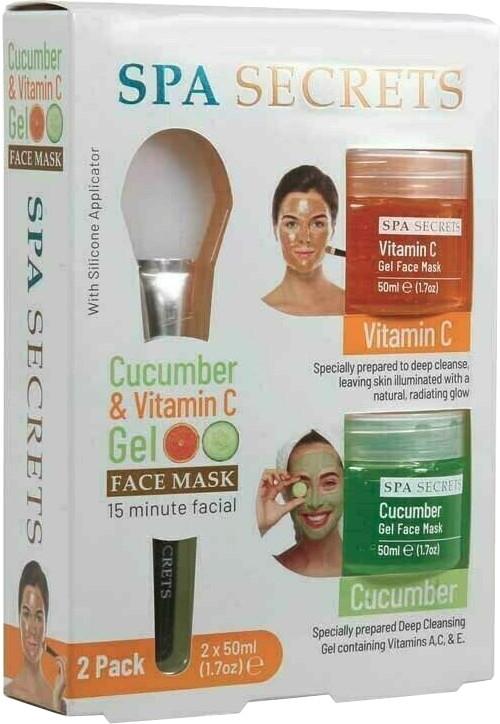 Комплект - Spa Secrets Cucumber & Vitamin C Gel Face Mask (mask/60ml + mask/60ml + brush/mask/1pcs)
