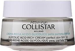 Парфюмерия и Козметика Наситен крем с гликолова киселина за идеална кожа - Collistar Pure Actives Glycolic Acid Rich Cream SPF20