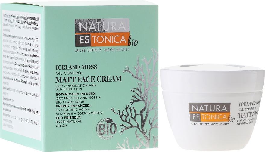 "Матиращ крем за лице ""Исландски мъх"" - Natura Estonica Iceland Moss Face Cream"