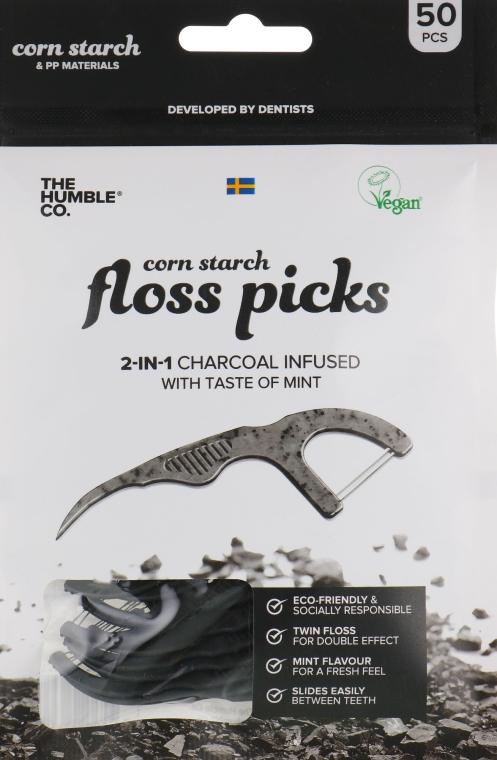 Конец за зъби с държател, черен - The Humble Co. Dental Floss Picks