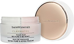 Парфюмерия и Козметика Двойна почистваща и хидратираща маска за лице с бяла и розова глина - Bare Escentuals Bare Minerals Claymates Be Pure & Be Dewy Mask Duo