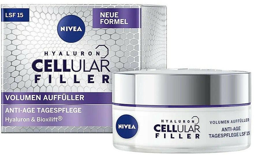 Дневной крем для лица - Nivea Hyaluron Cellular Filler + Volume Refill Anti-Age Day Care LF15 — снимка N1