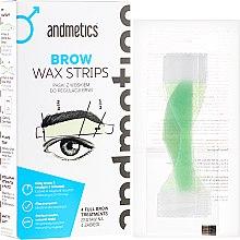 Парфюмерия и Козметика Восъчни депилиращи ленти за вежди, за мъже - Andmetics Brow Wax Strips Men (strips/4x2pc + strips/4x2pc + wipes/4pc)