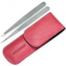 Парфюмерия и Козметика Комплект - Tweezerman Point Slant, розовый чехол