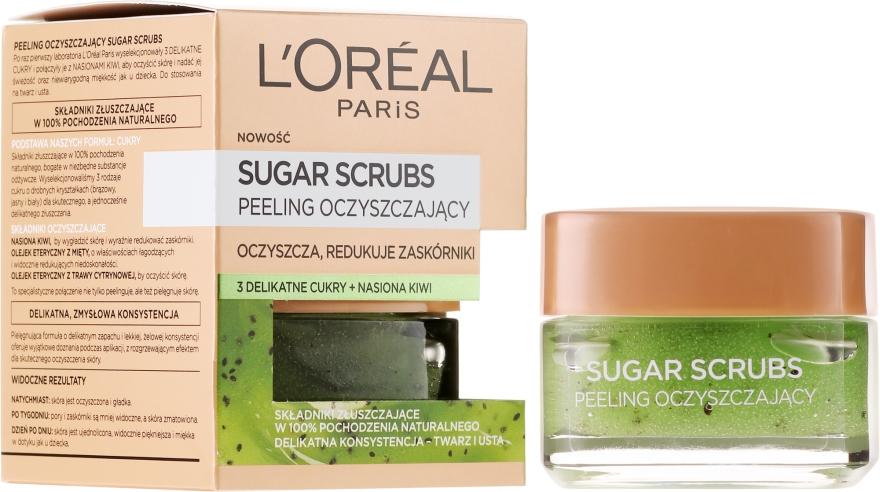 Почистващ захарен скраб за лице - L'Oreal Paris Sugar Scrubs