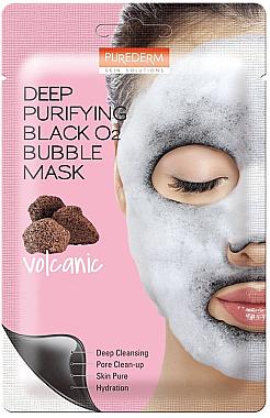 Дълбоко почистваща кислородна маска за лице - Purederm Deep Purifying Black O2 Bubble Mask Volcanic