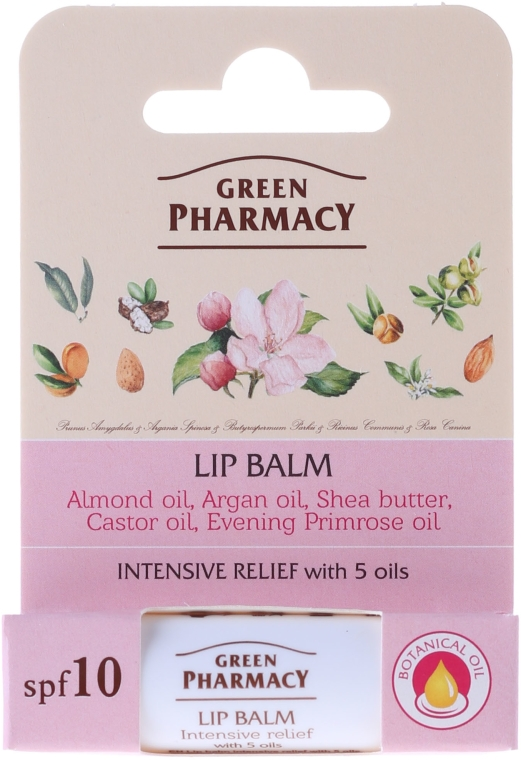 Балсам за устни с 5 масла - Green Pharmacy Lip Balm With 5 Oils, SPF 10