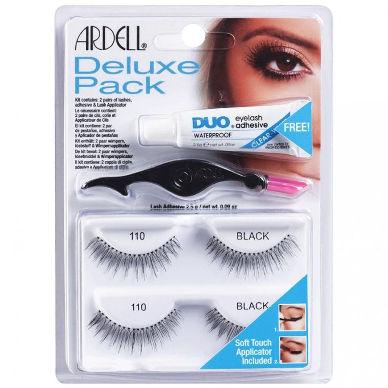 Комплект изкуствени мигли и лепило - Ardell Deluxe Pack 110 Black