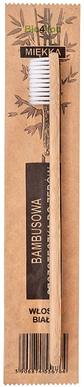 Бамбукова четка за зъби, мека, бяла - Bio4You