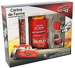 Парфюмерия и Козметика Corine de Farme Cars - Детски козметичен комплект (тоал. вода/50ml + душ гел/250ml + цветни моливи/ 6 бр.)