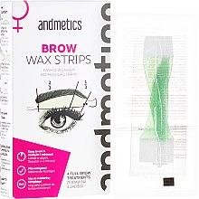 Парфюмерия и Козметика Восъчни депилиращи ленти за вежди - Andmetics Brow Wax Strips Women (strips/4x2pc + strips/4x2pc + wipes/4pc)