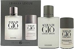 Парфюми, Парфюмерия, козметика Giorgio Armani Acqua Di Gio Pour Homme - Комплект (edt 100 + deo stick 75)