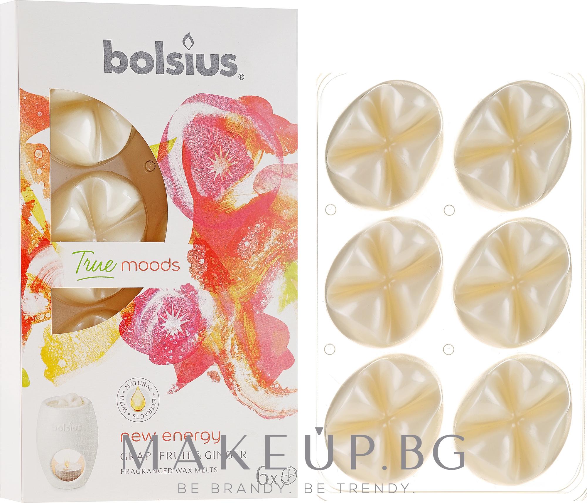 "Ароматен восък ""Грейпфрут и джинджифил"" - Bolsius True Moods New Energy Grapefruit & Ginger — снимка 6 бр"