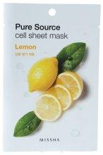 Парфюмерия и Козметика Маска за лице от плат с натурален екстракт от лимон - Missha Pure Source Cell Sheet Mask Lemon