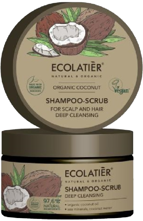 Дълбоко почистващ скраб-шампоан за коса - Ecolatier Organic Coconut Shampoo-Scrub