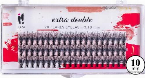 Мигли на снопчета, C 0,1 мм, 10 мм - Ibra Extra Double 20 Flares Eyelash C 10 mm