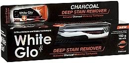 Парфюмерия и Козметика Комплект паста и четка за зъби - White Glo Charcoal Deep Stain Remover Toothpaste (t/paste 100 ml + t/brush)