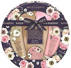 Парфюми, Парфюмерия, козметика Комплект за тяло - Baylis & Harding Royale Garden (душ крем/130ml + душ гел/130ml + масло/100ml + сапун/150g + соли/100g + гъба/1)