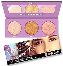 Парфюмерия и Козметика Палитра хайлайтъри за лице - Rude Cosmetics Highlighting Shimmer Trio