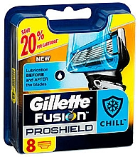 Парфюмерия и Козметика Сменяеми ножчета за бръснене, 8 бр. - Gillette Fusion ProShield Chill