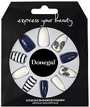 Парфюмерия и Козметика Комплект изкуствени нокти, синьо с бяло - Donegal Express Your Beauty