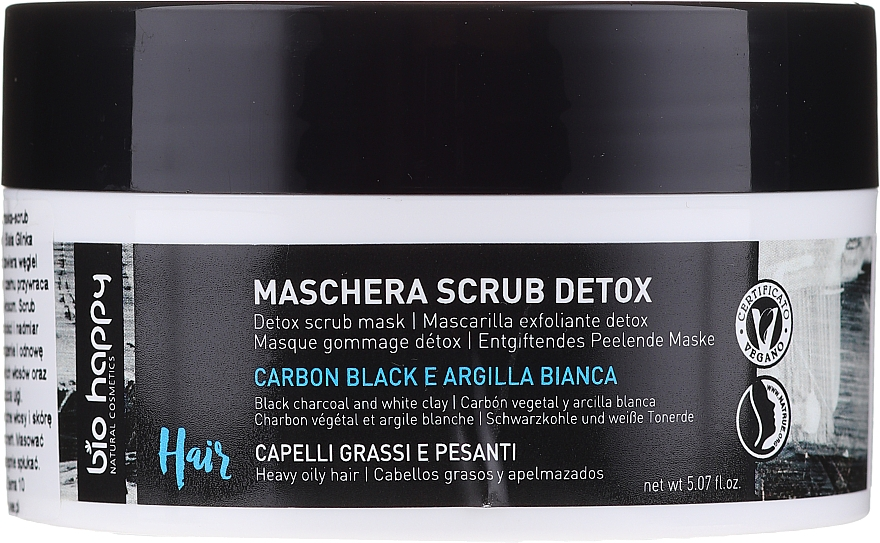 Маска за коса и пилинг за скалп 2в1 с черен въглен и бяла глина - Bio Happy Carbon Black & White Clay Scrub Mask