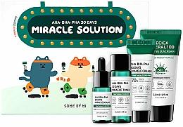 Парфюмерия и Козметика Комплект за лице - Some By Mi AHA BHA PHA 30 Days Miracle Solution 4 Step Kit (слънц. крем/25ml + тоник/30ml + серум/10ml + крем/20g)