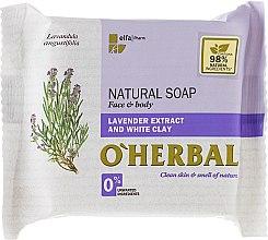 Парфюми, Парфюмерия, козметика Натурален сапун с екстракт от лавандула и бяла глина - O'Herbal Natural Soap