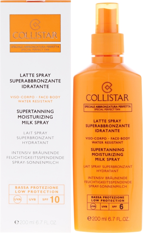 Хидратиращо слънцезащитно мляко - Collistar Supertanning Moisturing Milk Spray SPF 10 water resistant — снимка N1