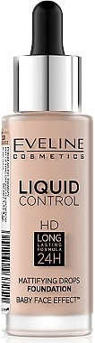 Течен фон дьо тен - Eveline Cosmetics Liquid Control HD Mattifying Drops Foundation (тестер)