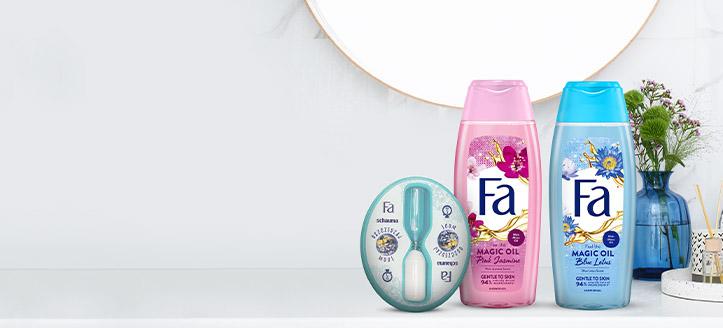 При покупка на промоционални продукти Fa за сума над 10 лв. получавате подарък пясъчен часовник за душ