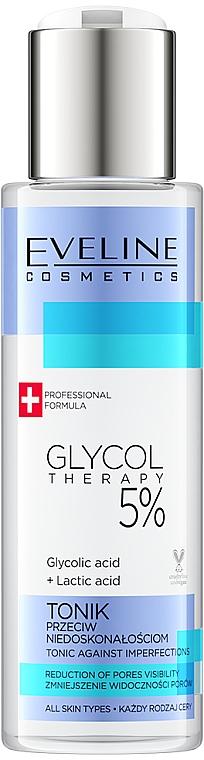 Тоник за лице срещу несъвършенства с гликолова киселина 5% - Eveline Glycol Therapy Tonik Przeciw Niedoskonalosciom 5%