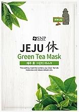 Парфюмерия и Козметика Успокояваща памучна маска за лице със зелен чай - SNP Jeju Rest Green Tea Mask