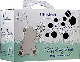Парфюмерия и Козметика Комплект за деца - Mustela My Baby Bag Set (почист. вода/300ml +гел-шамп./200ml + крем за лице/40ml + крем за тяло/50ml + мокр. кърпички/25бр + чанта)
