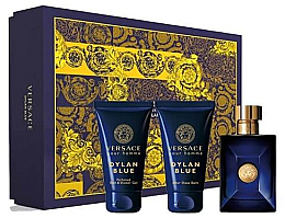 Парфюми, Парфюмерия, козметика Versace Pour Homme Dylan Blue - Комплект (тоал. вода/50ml + афтър. балсам/50ml + душ гел/50ml)