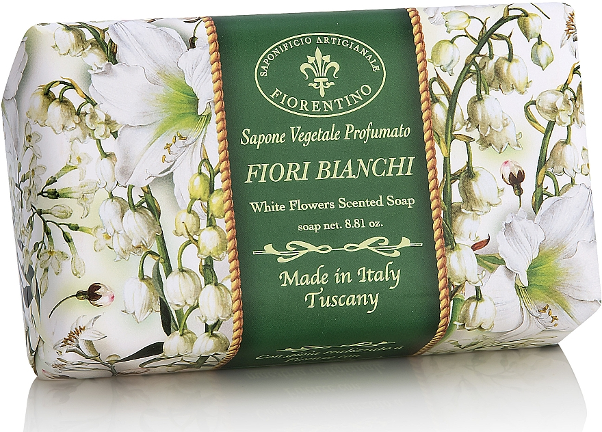 """Натурален сапун """"Бели цветя"""" - Saponificio Artigianale Fiorentino White Flowers Scented Soap"""