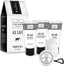 Парфюмерия и Козметика Комплект - Scottish Fine Soaps Au Lait Pamper Kit (b/cr/75ml + sh/cr/75ml + shm/75ml + soap/40g + sponge)