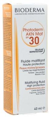 Слънцезащитен матиращ флуид - Bioderma Photoderm Akn Mat Spf 30 Matifying Sun Fluid — снимка N1