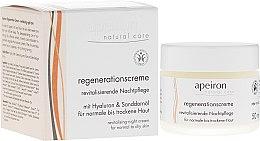 Парфюмерия и Козметика Възстановяващ нощен крем за нормална и суха кожа - Apeiron Night Regeneration Cream