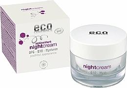 Парфюмерия и Козметика Антиоксидантен нощен крем за лице с хиалурон - Eco Cosmetics Antioxidant Night Cream With OPC Q10 & Hyaluron