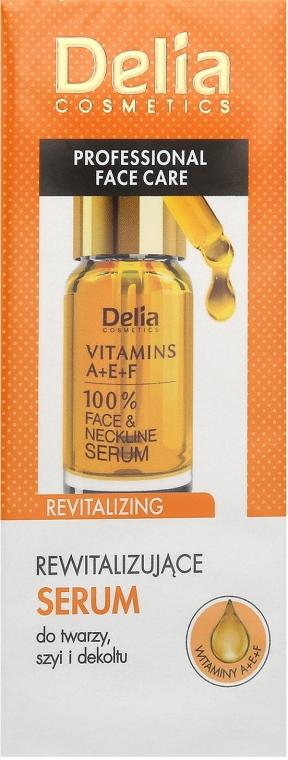 Ревитализиращ интензивен подмладяващ серум против бръчки за лице и шия с витамини A, E, F - Delia Face Care Anti-Wrinkle and Revitalizing Face Neckline Intensive Serum